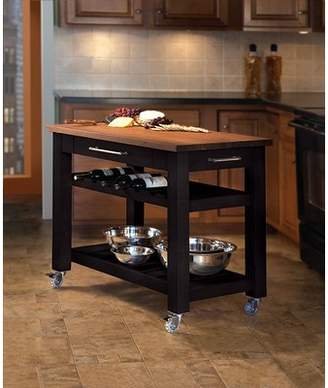 Martins Homewares Metro Mobile Kitchen Island with Solid Walnut Top