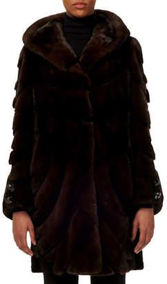Gorski Short-Nap Mink Fur Stroller Coat w/ Sheared Inserts & Button-Cuffs