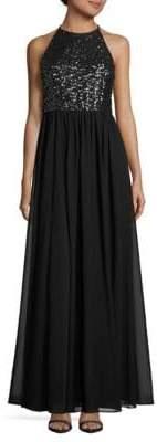 Vera Wang Sequined Halterneck Gown