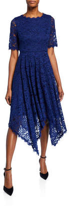 Shani Jewel-Neck Elbow-Sleeve Lace Dress w/ Handkerchief-Hem