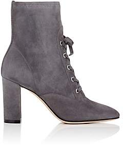 Gianvito Rossi Women's Suede Lace-Up Ankle Boots-Dark Grey