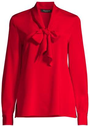 Lafayette 148 New York Genevive Silk-Blend Tie Neck Blouse