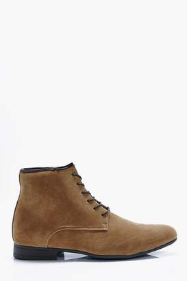 boohoo Faux Suede Lace Up Boots
