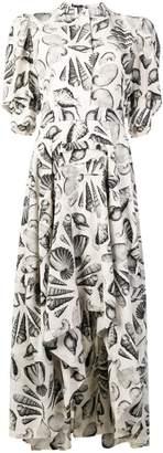 Alexander McQueen shell-print puff-sleeve dress