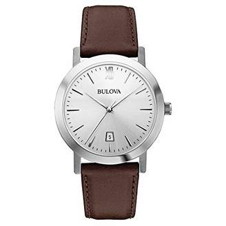 Bulova Unisex 96B217 Stainless Steel Watch with Leather Band