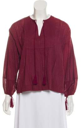 The Great Tassel-Accented Embroidered Top w/ Tags