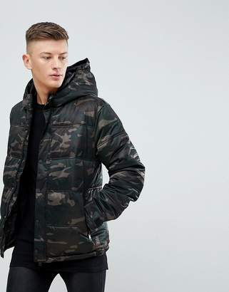New Look Quilted Jacket In Camo Print Khaki