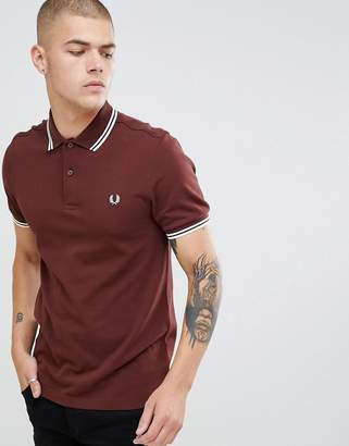 Fred Perry twin tipped polo in brown