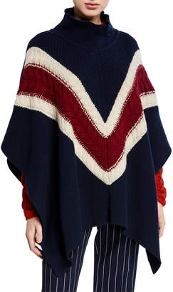 See by Chloe Cable-Knit Wool Chevron Poncho