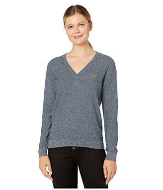 Lacoste Women's Long Sleeve Cotton V-Neck Sweater