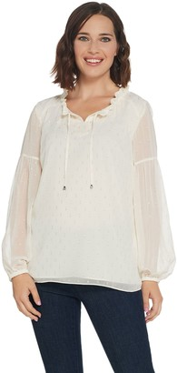 Isaac Mizrahi Live! Tie Neck Peasant Blouse with Metallic Detail
