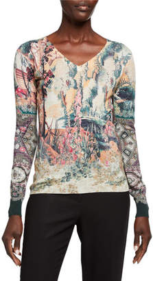 Etro Castle-Print Silk/Cashmere V-Neck Sweater
