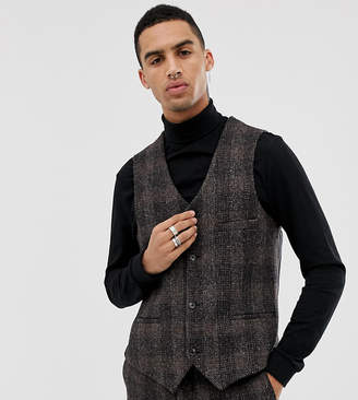 Heart & Dagger slim suit vest in brown harris tweed