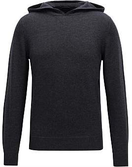 HUGO BOSS Hooded Sweater In A Virgin-Wool Blend With Cashmere
