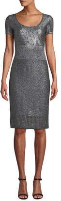 St. John Scoop-Neck Short-Sleeve Metallic-Plaited Body-Con Dress