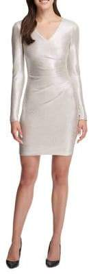 GUESS Gathered Foil Bodycon Dress