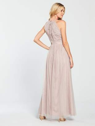 Little Mistress Mesh Halter Neck Maxi Dress - Nude