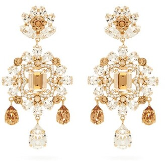 Dolce & Gabbana Crystal Drop Clip Earrings - Womens - Yellow