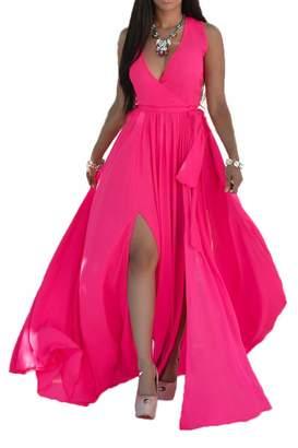 Zilcremo Women Summer Casual Sleeveless V Neck Chiffon Slit Beach Maxi Swing Dress Plus Size Rosered XL