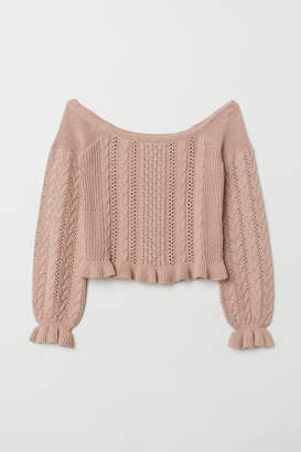 H&M Off-the-shoulder Sweater - Pink