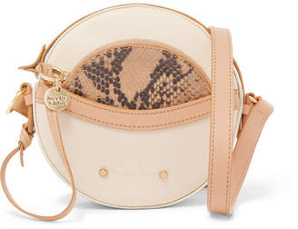 See by Chloe Rosy Textured And Snake-effect Leather Shoulder Bag - Beige