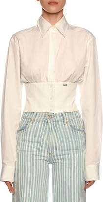 Off-White Button-Front Cropped Corset Blouse