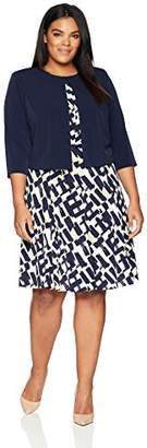 Jessica Howard Women's Plus Size Belted Jacket Dress