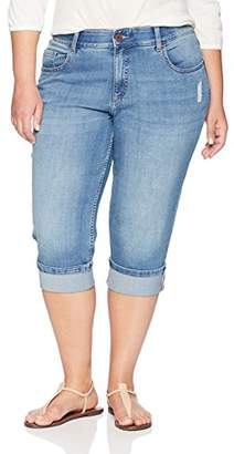Lee Indigo Women's Plus Size Modern Collection Denim Skinny Cuffed Capri