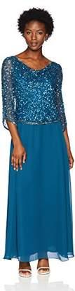 J Kara Women's Petite Long Beaded Dress with Cowl Neck