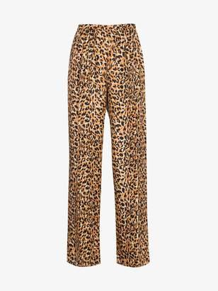 Dries Van Noten Silk Leopard Print Trousers
