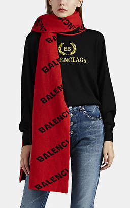 Balenciaga Women's Logo Wool Scarf - Orange