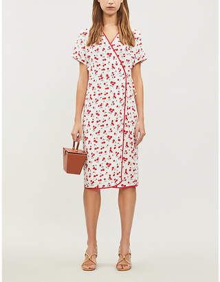 HVN Vera silk wrap dress