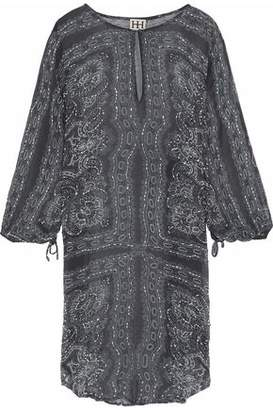 Haute Hippie Bead-Embellished Printed Silk-Chiffon Tunic