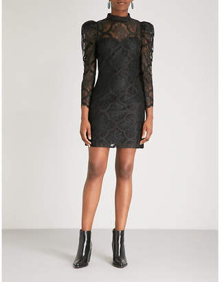 Sandro Puff-sleeve floral-lace mini dress