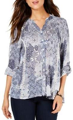 Style&Co. Style & Co. Printed Regular-Fit High-Low Button-Down Shirt