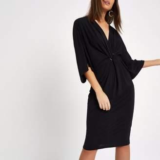 River Island Womens Black twist front batwing sleeve midi dress