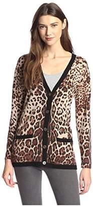 James & Erin Women's Cashmere Leopard Cardigan