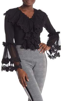 65b7b66d44058f Gracia Floral Crochet Mesh Bell Sleeve Bodysuit