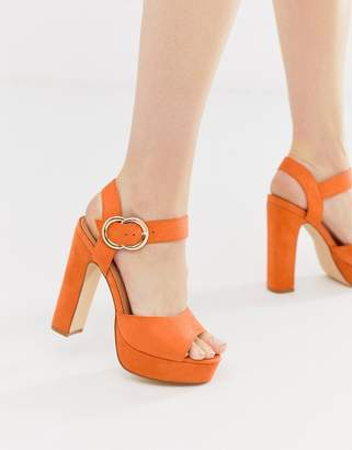 Truffle Collection buckle platform heeled sandals
