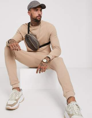 BEIGE Asos Design ASOS DESIGN tracksuit in ribbed fabric