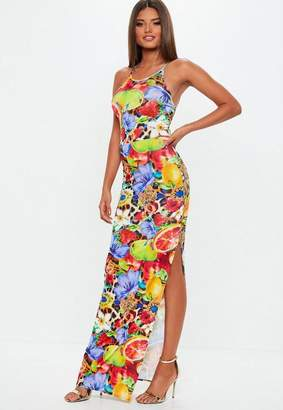 Missguided 90s Neck Slinky Fruit Print Maxi Dress