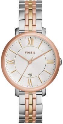 Fossil Women's Jacqueline Tri-Tone Stainless Steel Bracelet Watch 36mm ES3844 $135 thestylecure.com