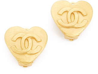 Chanel What Goes Around Comes Around CC Heart Clip On Earrings (Previously Owned)