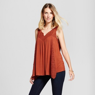Knox Rose Women's Knit Tank with Lace - Knox Rose Rust $22.99 thestylecure.com