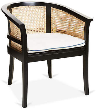 Harper Cane Chair - Ivory/Blue Linen - Mark D. Sikes