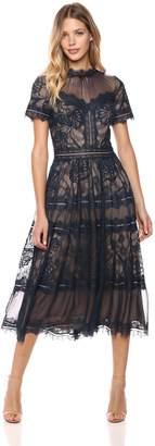 Tadashi Shoji Women's s/s lace midi Dress, Navy/Nude