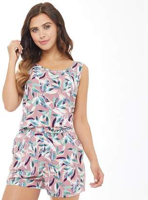 Only Womens Nova All Over Print Sleeveless Playsuit Rose Dawn/Leafy