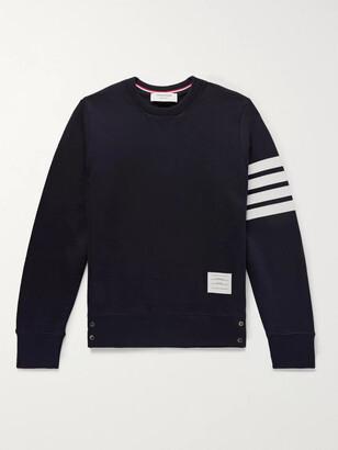 Thom Browne Slim-Fit Striped Loopback Cotton-Jersey Sweatshirt - Men - Blue