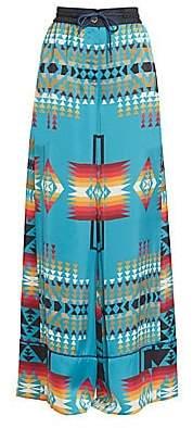 Sacai Women's Pendleton-Print Wide-Leg Pants