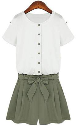 Goodnight Macaroon 'Halston' Button Down Short Sleeved Military Green Romper